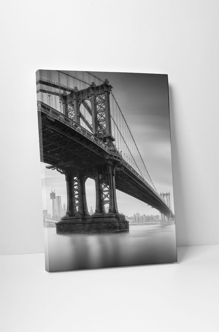 York Brooklyn Bridge Section Skyline Gallery Wrapped Canvas Print