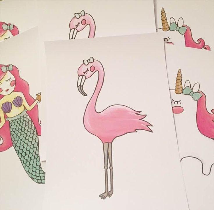 Poster flamingo A4. Een lieve poster met een flamingo voor de meisjeskamer. Leuk om te combineren met het bijpassende flamingo knuffeltje.