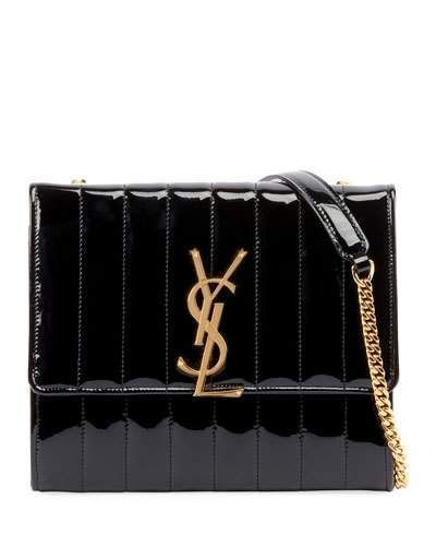 c0449ec8535 V4246 Saint Laurent Vicky Medium YSL Monogram Patent Chain Crossbody Bag