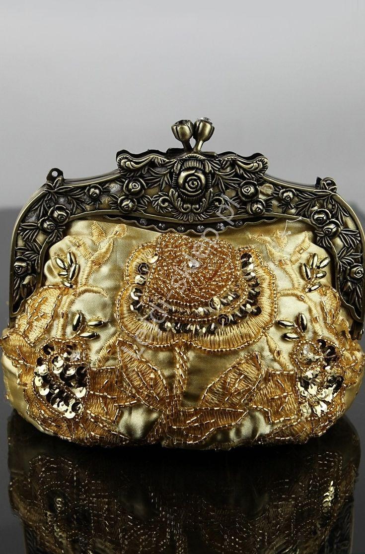 Złota torebka koraliki, hafty , hand made