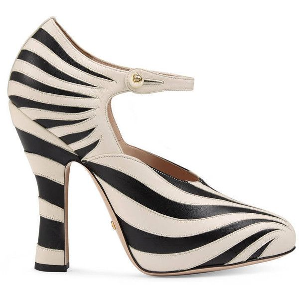 Gucci Zebra Leather Pump ($730) ❤ liked on Polyvore featuring shoes, pumps, black and white high heel shoes, strap pumps, high heel shoes, black and white shoes and python pumps