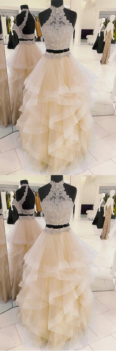 two-piece champagne tulle long prom/evening dress #prom #promdresses #promdress #eveningdress #eveningdresses #longpromdresses