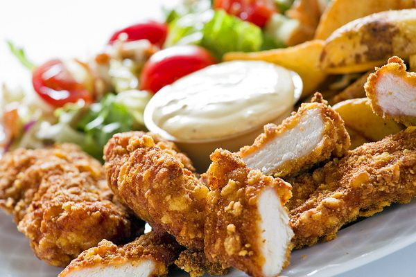 Chicken fillet in batter with nuts