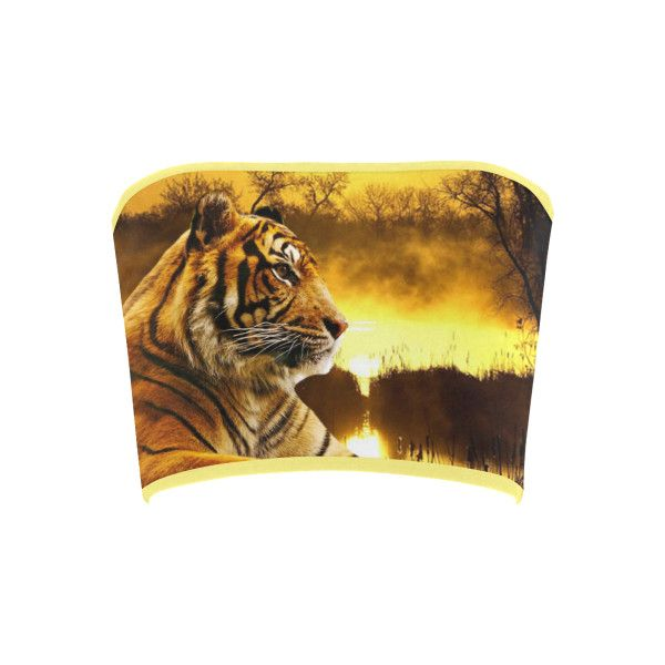 Tiger and Sunset Bandeau Top ($12) ❤ liked on Polyvore featuring tops, tiger, brown bandeau top, bandeau bikini top, pattern tops, print top and brown tops