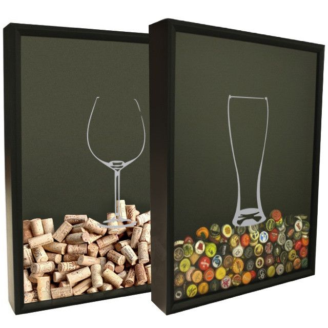 Beer Cap Collector Shadow Box Set - Beer and Wine Glass Design from Craft Beer Hound