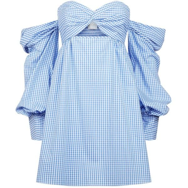 Petersyn Trista Gingham Mini Dress (480 CAD) ❤ liked on Polyvore featuring dresses, off the shoulder short dress, short dresses, off shoulder dress, off the shoulder mini dress and embellished mini dress