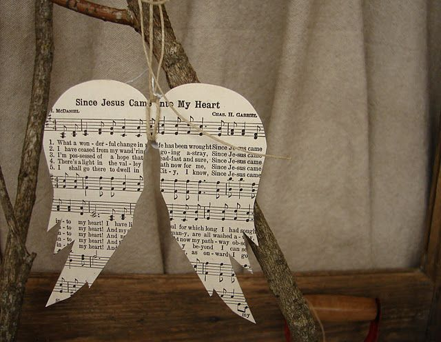 Angel  wings - using old sheet music or old book pages and decoupage onto a canvas.
