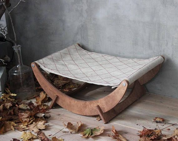 Cat furniture - Cat hammock - New Moon Cat Bed (Canvas) Awning takes the form of cat, and it would be rest in the hammock with pleasure. Strong and light, you can easily move hammock around the house. Use it to create for your cat place of real comfort. Shipping to any country by #catbed