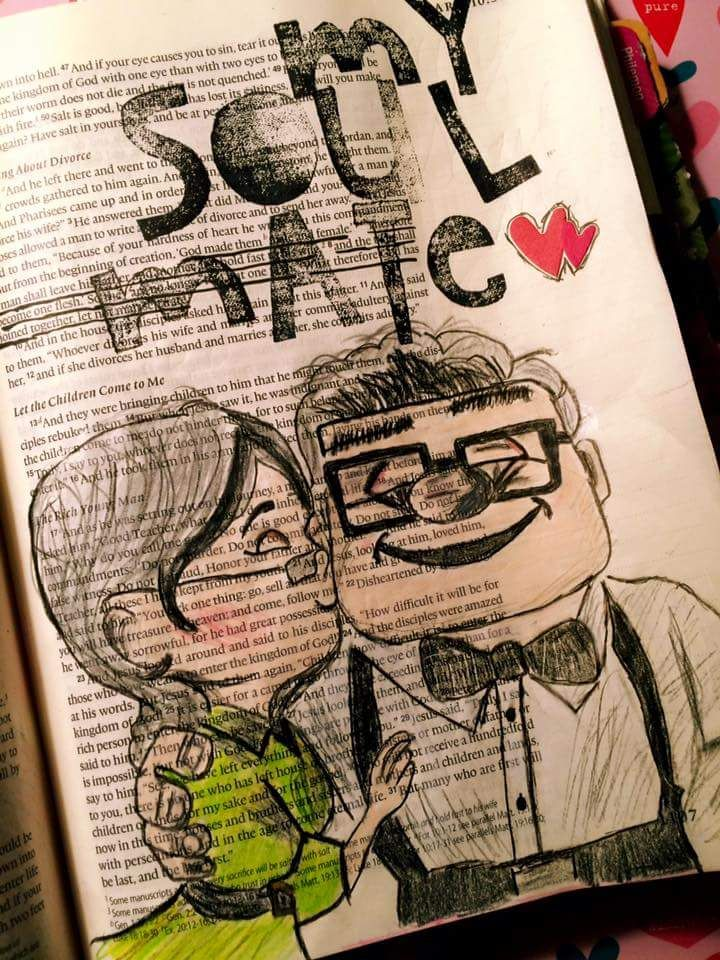 Carl and Ellie. #soulmates. #illustratedfaith bible art journal #pixar #up Disney