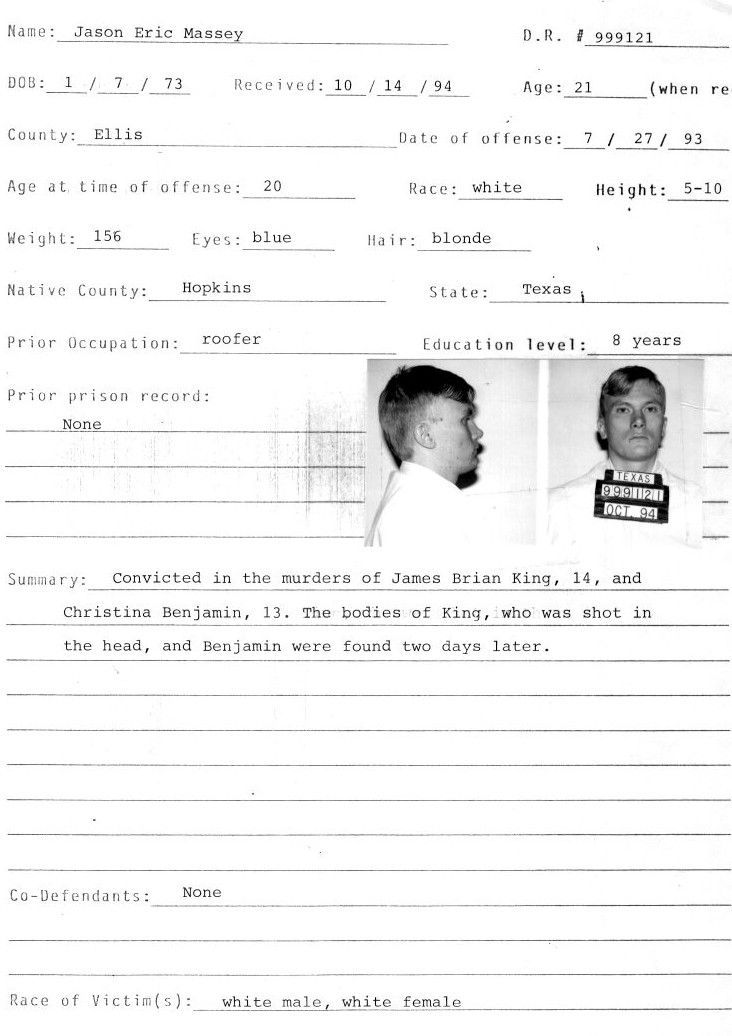 Jason Massey's arrest record [Texas Department of Corrections]