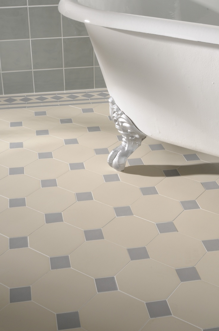 Victorian Floor Tiles - the York pattern is made up of individual pieces, shown here in pale blue and white.