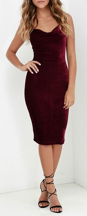 The Jazzy Belle Burgundy Velvet Dress is worthy of a catwalk and a crowd! See for yourself as the soft, velvet knit fabric shapes a sexy cowl neckline and elastic back below rounded shoulder straps. Bodycon skirt creates a bold finish ending at a flattering midi length. #lovelulus