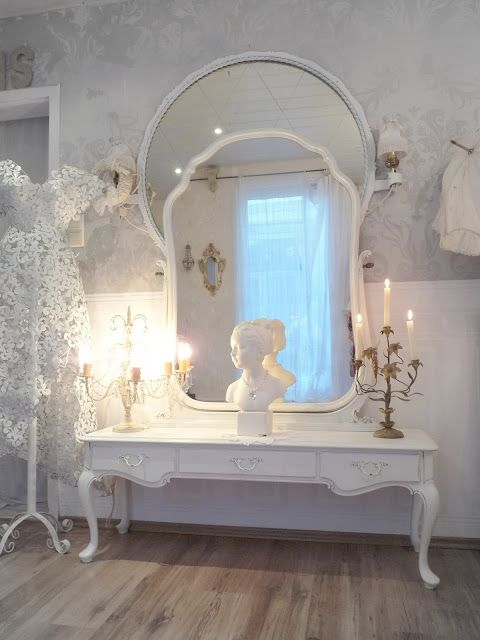 Vintage Mirrors and Table, Painted White - via Heavens rosé Cottage: My fairytale world