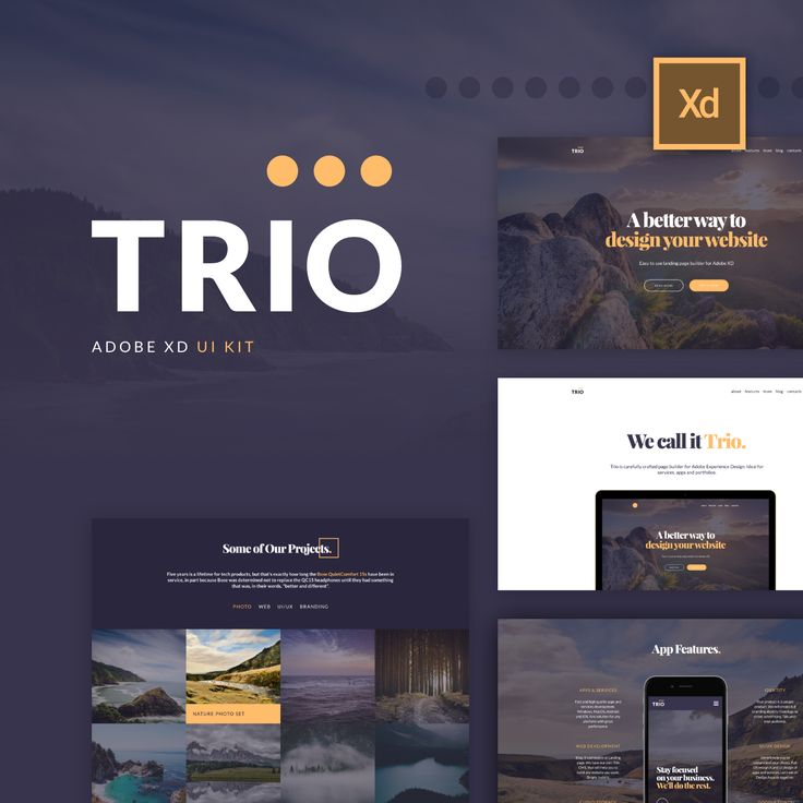 "다음 @Behance 프로젝트 확인: ""Trio UI Kit for Adobe XD"" https://www.behance.net/gallery/44846169/Trio-UI-Kit-for-Adobe-XD"