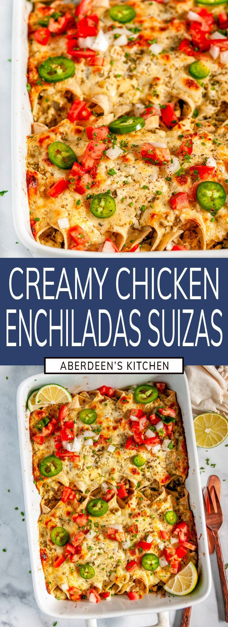 Chicken Enchiladas Suizas – Deliciously cheesy chicken enchiladas in a rich, creamy, salsa verde sauce, no heavy cream n…