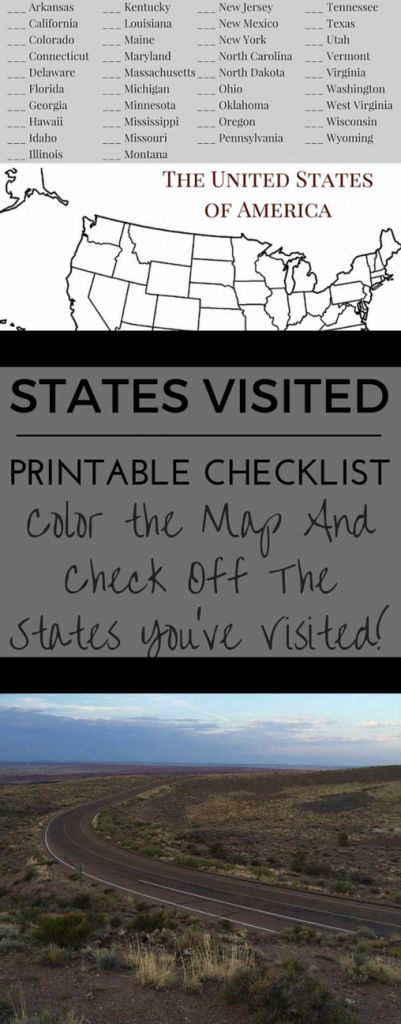 Printable State Visited Checklist! Color the Map and Check off the States You've Visited!