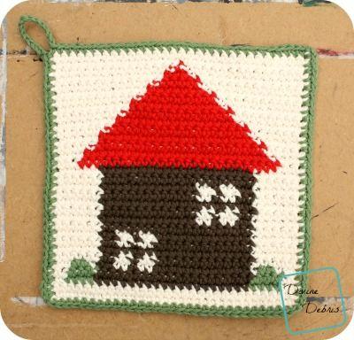 Cute House Hot Pad crochet pattern by DivineDebris.com