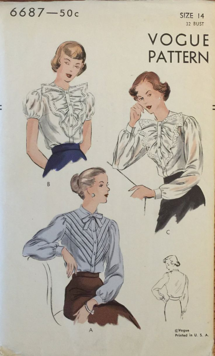 "RARE VTG 6687 Vogue (early 1950's) misses' blouse w/ sleeve & collar options. Size 14, Bust 32"". Complete, unused, FF. Excellent condition! by ThePatternParlor on Etsy"