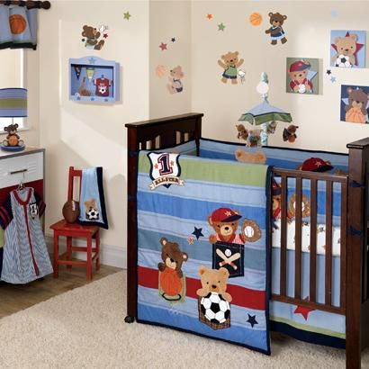 Blue Green And Red Baby Bedding Baseball Basketball Soccer Are The Sports Played By These Adorable Athlete Teddy Bears Perfect For Any Boy