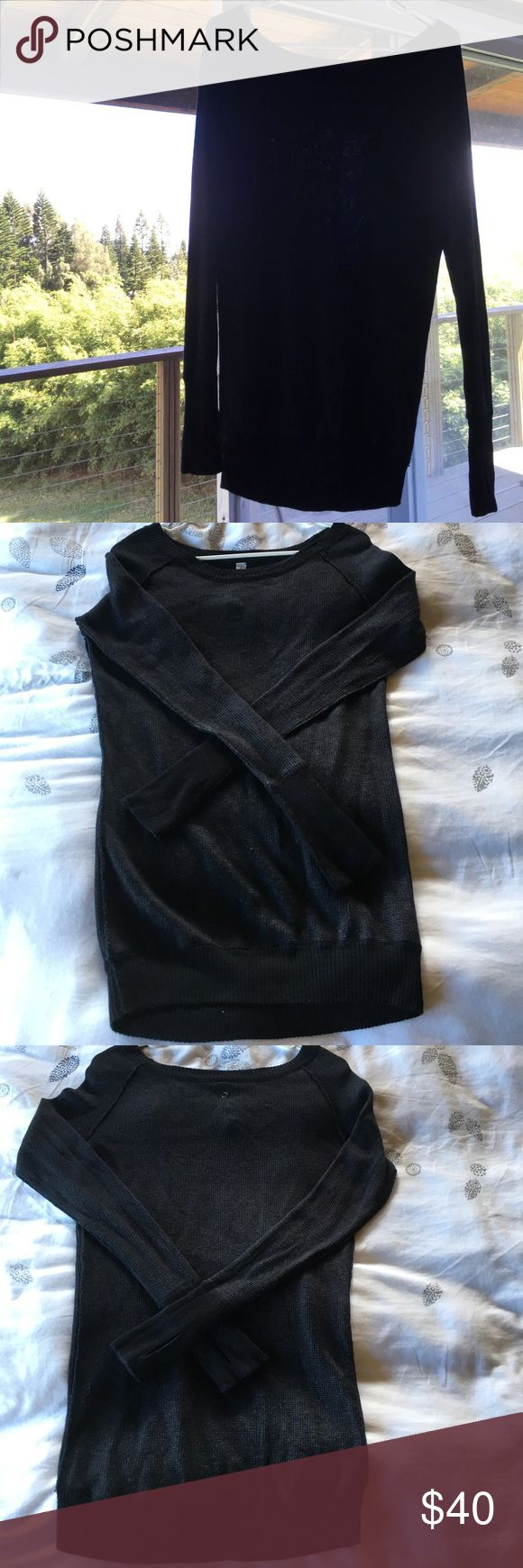 "Lululemon sweater Gently worn size 6 Lululemon sweater, scoop neckline, dark charcoal grey almost black in color, from front neckline to front hemline 24 inches. I'm 5'1"" and it hits right at upper thigh for me and covers most of my butt. Good for cool summer night coverup or warm fall. lululemon athletica Sweaters Crew & Scoop Necks"