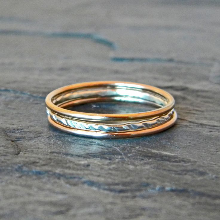 Silver and Gold Ring - Mixed Metal Stacking Rings - Gold Thumb Ring - Silver Thumb Ring - Thumb Ring 14 K Gold Fill - Stacking Ring Set