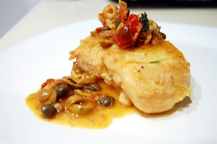 Chicken with Roasted Lemons, Cherry Tomatoes, Green Olives, and Capers ...