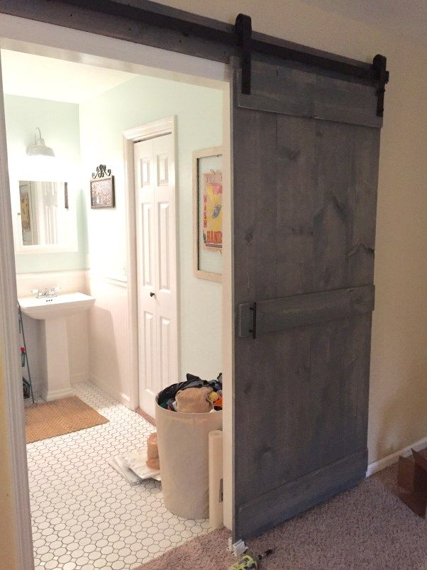 The Finished Result Diy Interior Sliding Barn Door With Goodbye Normal And National Hardware