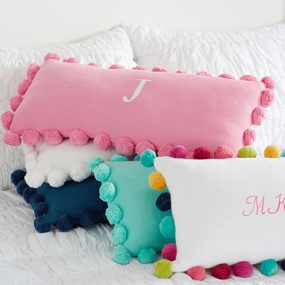 Pom Pom Organic Pillow Cover, Multi-Poms