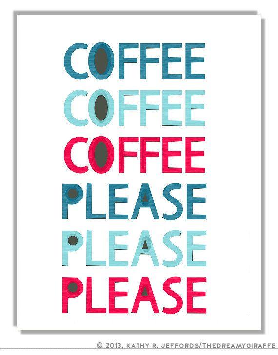 Coffee Please Kitchen Art Retro Kitchen by thedreamygiraffe