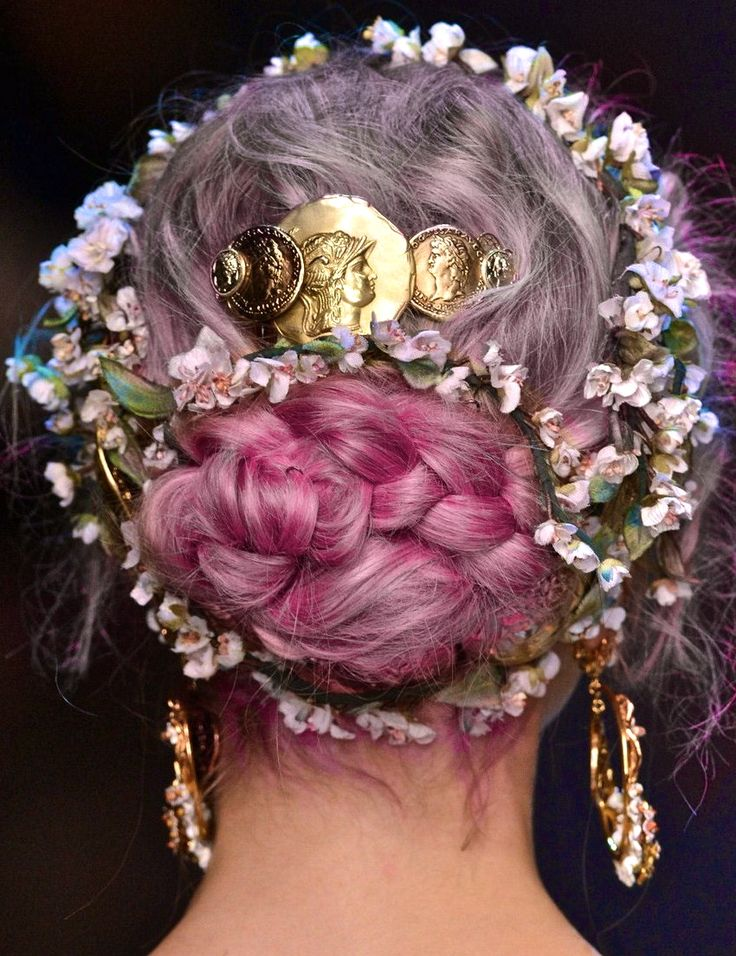 Dolce & Gabbana S/S 2014.                                  Look: Ombré Purple & Pink Hair, Floral Headband, Gold Coin Accents