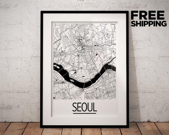 Seoul Map Poster  south korea Map Print  Art Deco by iLikeMaps