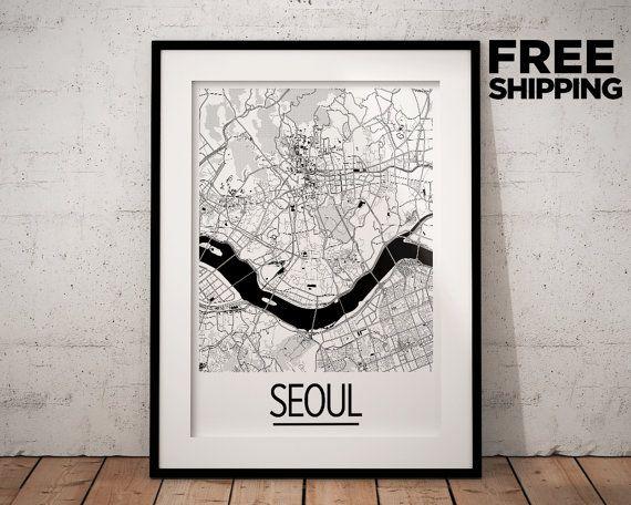 Seoul Map Poster  south korea Map Print  Art Deco by iLikeMaps