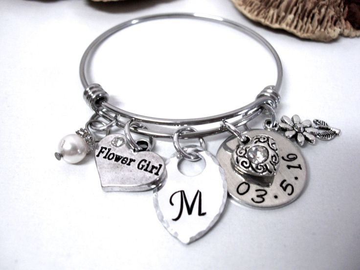 Flower Girl Bracelet, Bridal Jewelry, Flower Girl Jewelry, Flower Girl Gift by CharmAccents on Etsy