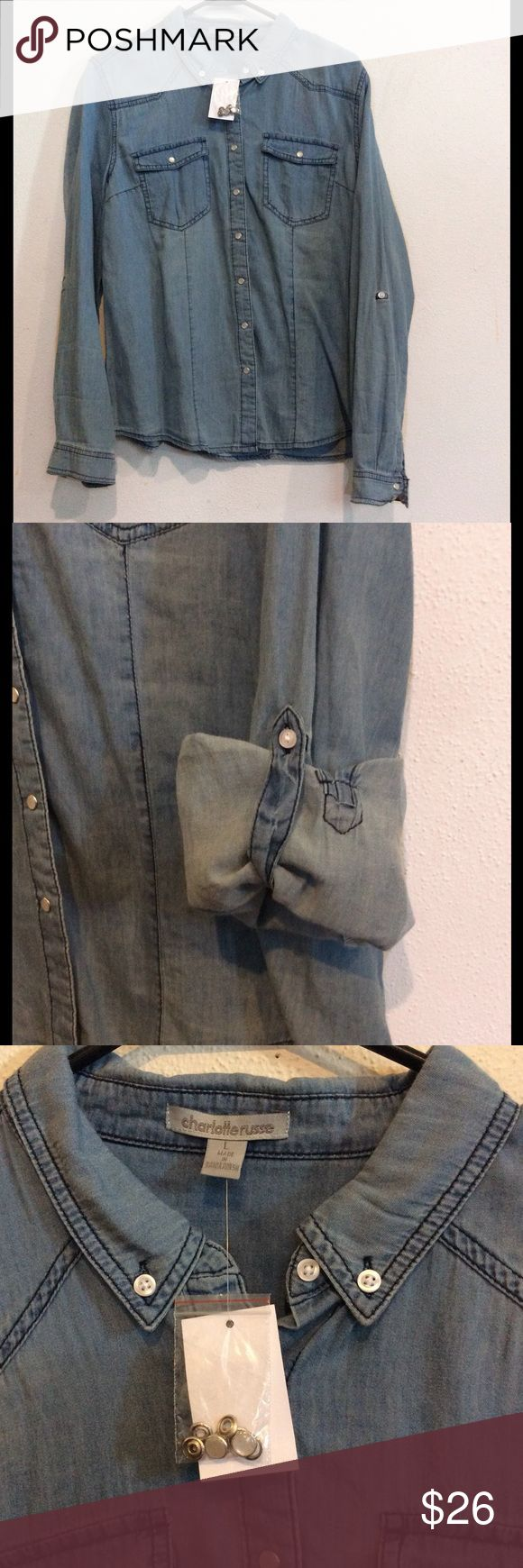 Charlotte Russe pearl snap chambray top NWT. Great with leggings and boots Charlotte Russe Tops Button Down Shirts