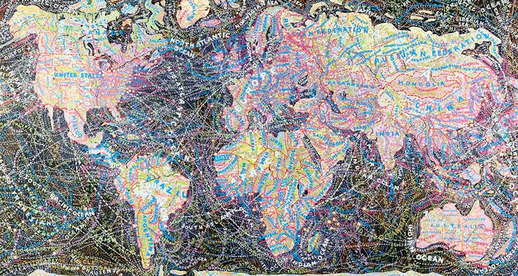 World Map Painting by Paula Scher
