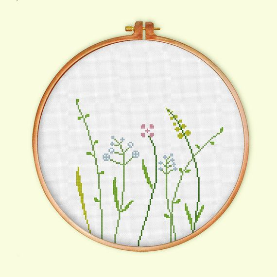 Wildflowers cross stitch pattern modern cross by ThuHaDesign More
