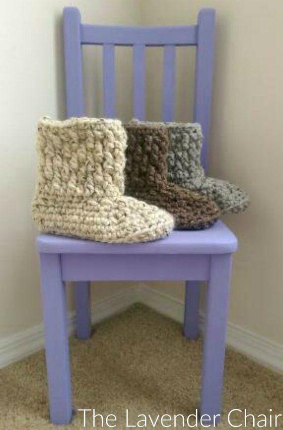 Brickwork Slipper Boots Crochet Pattern *PDF FILE DOWNLOAD* The Lavender Chair – Instant Download