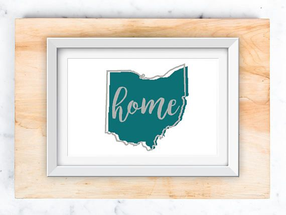Ohio-home Printable Art in Teal white and grey