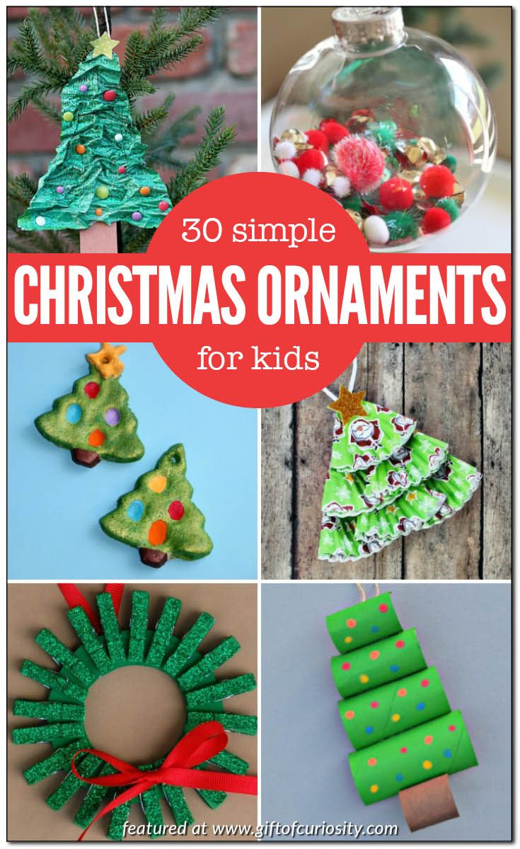 30 fun and simple Christmas ornaments that kids can make. Won't your kids love having their ornament hanging from the Christmas tree this holiday season? || Gift of Curiosity