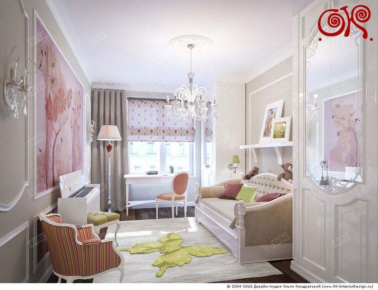 На фото: В интерьере детской комнаты для девочки используются карамельно-розовые оттенки, а также фисташковые и шоколадные акценты Легкая неоклассика с элементами французского стиля — идеальный вариант для оформления комнаты для девочки. В этом абсолютно уверены дизайнеры Студии Ольги Кондратовой,