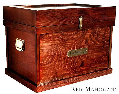 At Tack Trunks, etc., we specialize in high quality equestrian oriented woodwork for the tack room, or show stall. This is the most popular size and color (red mahogany) tack trunk customers order from us. Size is: ( L 30.5 x W 20.5 x H 23 ) We often have a few in stock, but can make one just for you in a few short weeks. Your purchase includes the polo wrap holders in the lid, a brush box, and a sliding drawer. You might consider upgrading to our Signature line of tack trunks. Same great…