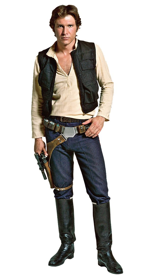 Han Solo orig trig - Black utility vest, light colored long sleeved henley tucked into slim blue pants tucked into black boots. Need that BELT BUCKLE.