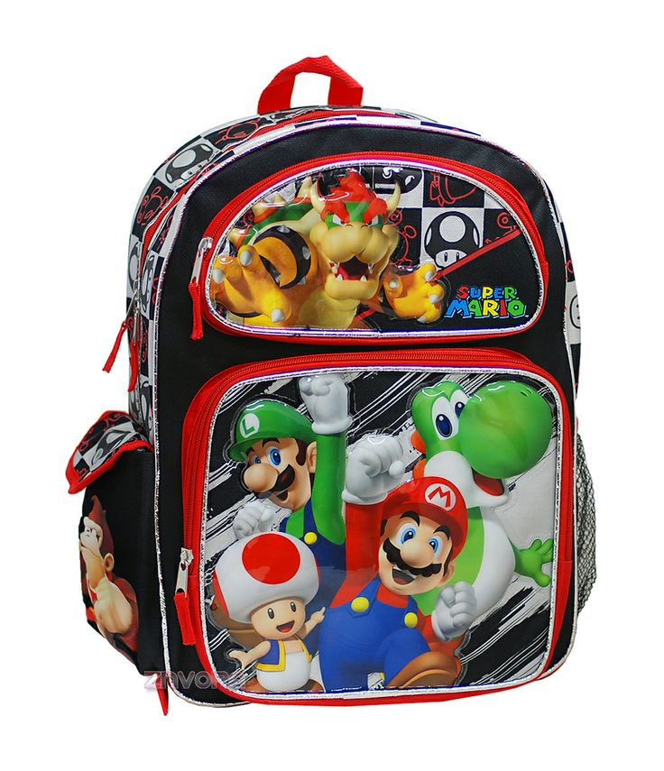 "Super Mario Bros 16"" Large Backpack Book Bag, $17.99"