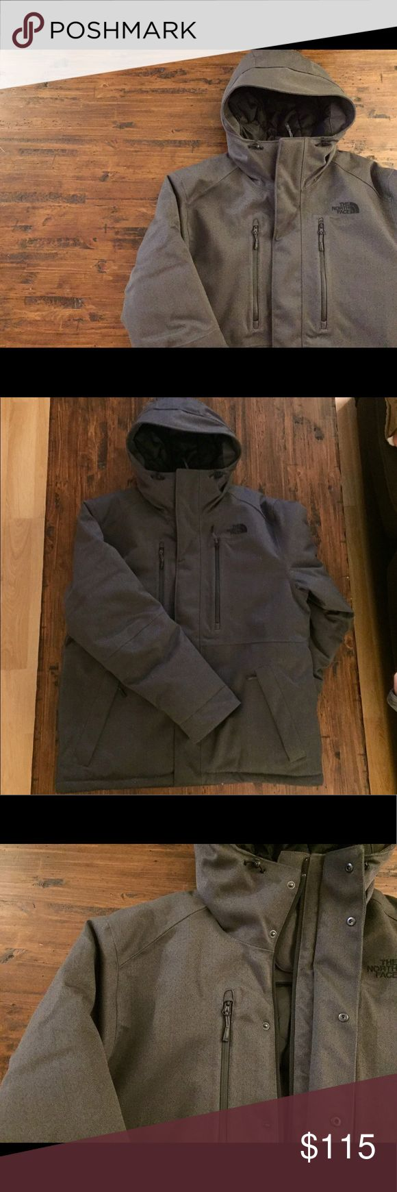 North Face Winter Jacket North Face heavy, winter jacket with gray herringbone pattern. This jacket is SUPER WARM and was only WORN ONCE!! Has 4 pockets on the front. 1 pocket inside with hole for headphones cord. Elastic drawstrings at neck and hips. This jacket is a steal! The North Face Jackets & Coats Ski & Snowboard