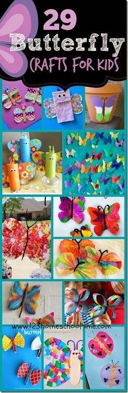 29 Butterfly Crafts for Kids - So many beautiful and unique ways for kid from toddler, preschool, kindergarten, first grade, 2nd grade, and more to make butterflies! Lots of fun art projects!