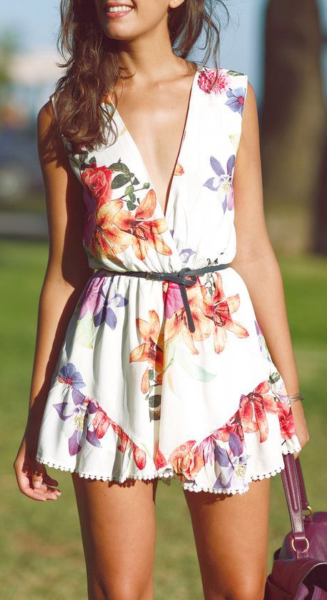 #Trendyoutfits: Spring / Summer - street chic style - boho chic style - beach style - white belted sleeveless surplice floral print mini dress with pom pom finish + brown handbag