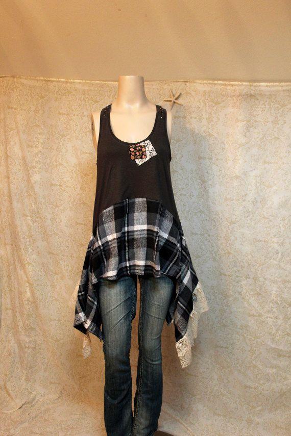 Upcycled Boho tricot Shirt, débardeur, minable Gypsy indésirable Chic bohémien REVIVAL féminin, taille petite à moyenne, recyclé, réutilisés...