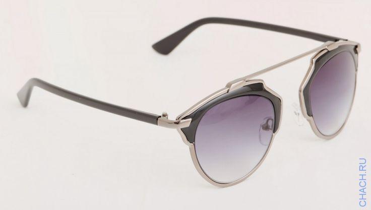 Очки Dior So Real Cateye серебристые с черными вставками