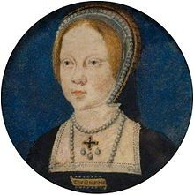 "Mary at the time of her engagement to Charles V. She is wearing a square brooch inscribed with ""the Emperour"""