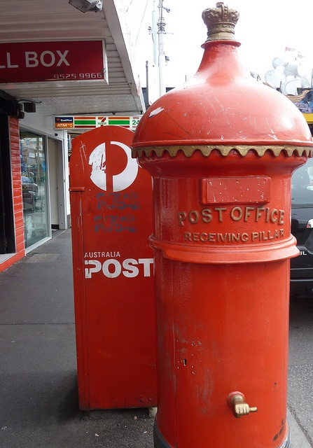 Two eras of Australian 'snail' mail Post Boxes. The 'new' (of Australia Post) and the 'old', under the auspices of the Postmaster-General's Department (PMG) which was created at Federation in 1901 to control all postal (and later, telecommunications) services within Australia.